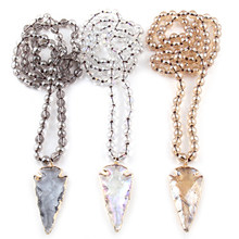 Free Shipping Fashion Bohemian Tribal Jewelry 8mm Glass Long Knotted Beads Glass Arrowhead Pendant Necklaces(China)