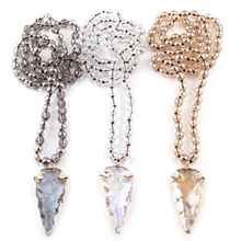 Free Shipping Fashion Bohemian Tribal Jewelry 8mm Glass Long Knotted Beads Glass Arrowhead Pendant Necklaces