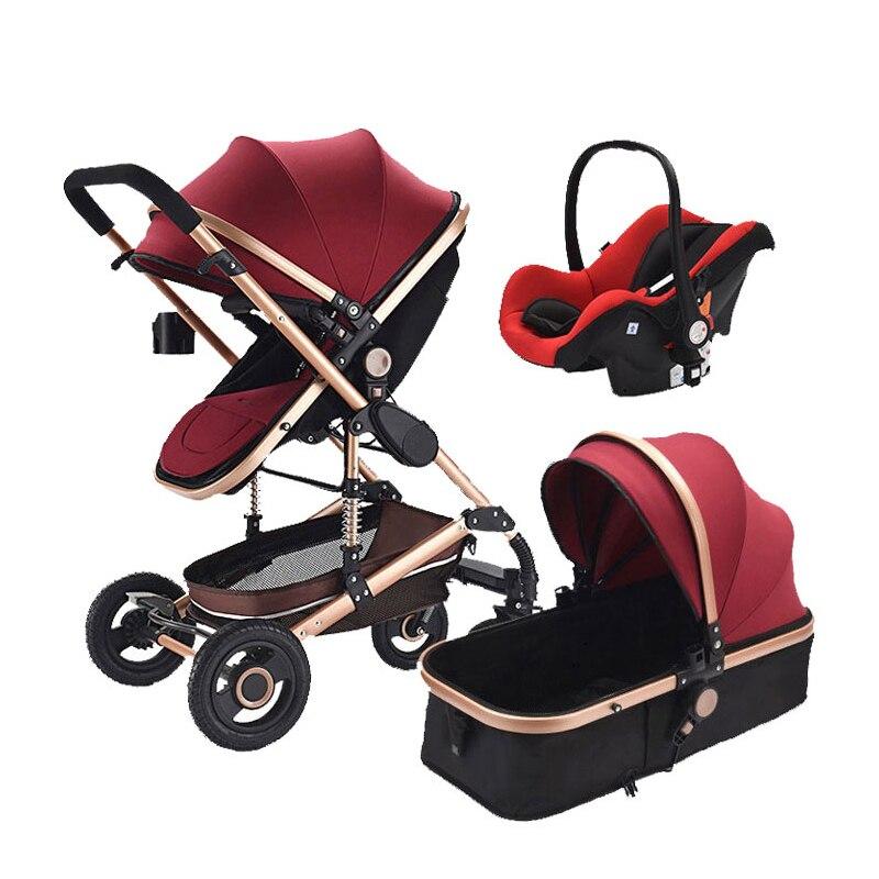 3 em 1 alta paisagem carrinho de bebê com assento de carro liga alumínio 360 graus universal roda dianteira do bebê pram