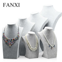 FANXI Customize Design And Size Jewelry Display MDF Wrapped With Ice Velvet Perfect Radain Necklace Display