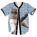 Scratch Post and Chill Jersey Summer Style with buttons kitten 3d print Hip Hop Men's shirts funny tops baseball shirt top tees