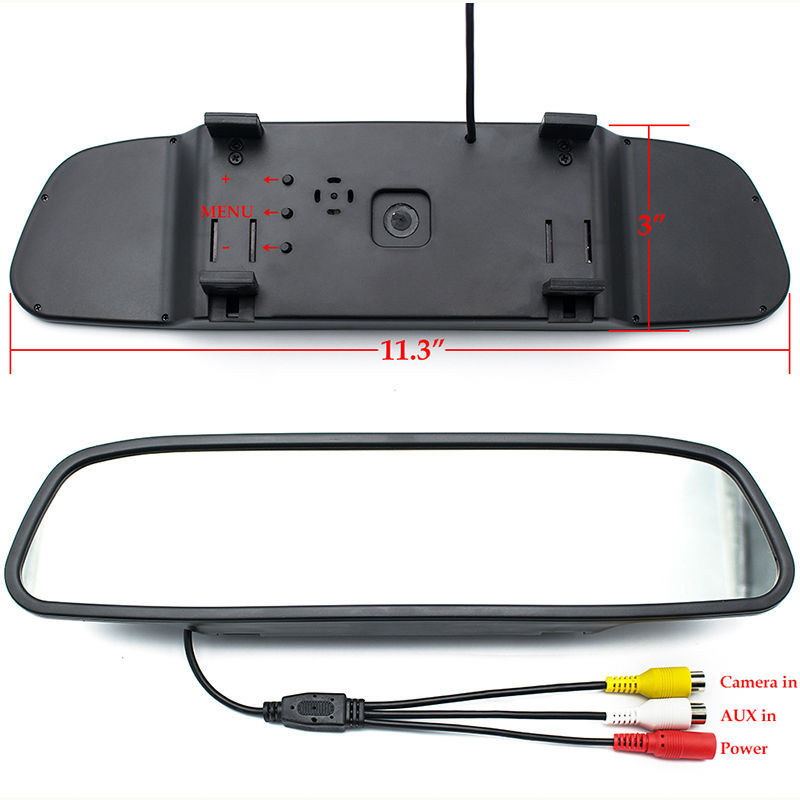 "GreenYi Parking Assistance 4.3"" Rear Mirror Monitor + Reverse Backup License Plate Frame Rearview Camera Night Vision 2"
