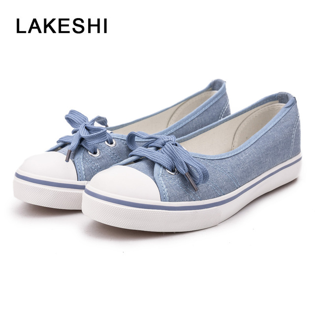 c1fb0611f LAKESHI Women Canvas Shoes Women Casual Shoes Summer Comfortable Lace Up Women  Flat Shoes Fashion Sneakers White Shoes Female-in Women's Flats from Shoes  on ...