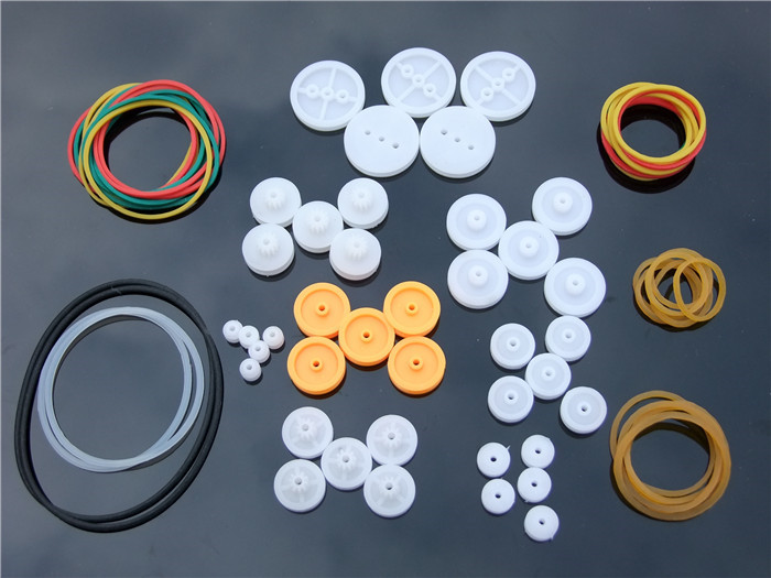 40Pcs Plastic DIY Component Set Pulley Rubber Band for Toy Car Model Accessory