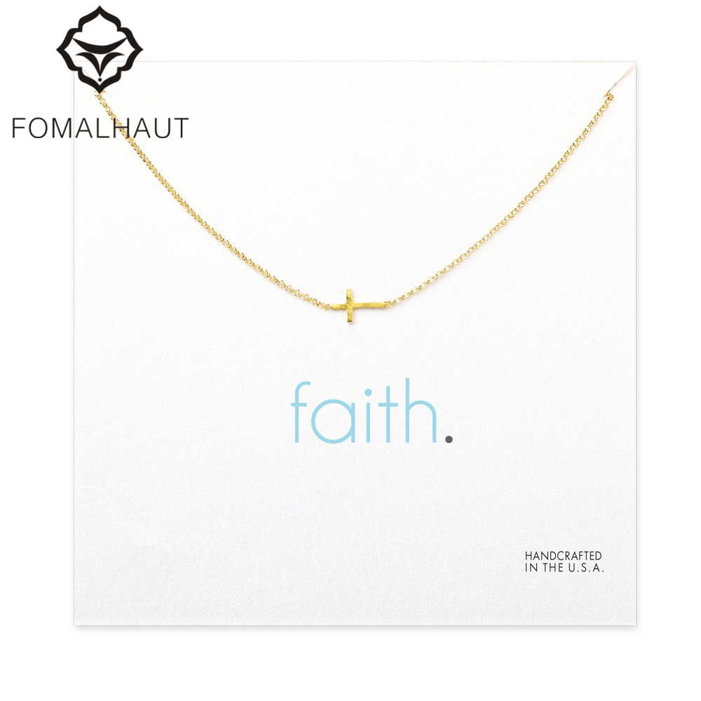 small sideways cross Pendant necklace Clavicle Chains Fashion Statement Necklace Women FOMALHAUT Jewelry