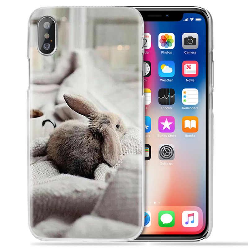 Funda de animales para iPhone XS Max XR X 10 7S 8 6 6S Plus 5S SE 5 4S 4 5C transparente duro 11 funda de teléfono Coque bonitos conejos blancos para bebés