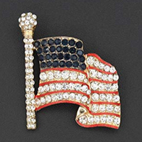 Patriotic American USA Flag Rhinestone Pin Brooch Gold Tone