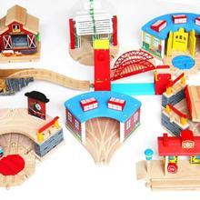 EDWONE всех видов поезд гараж воздушный Staion деревянная дорожка Бук деревянная железная дорога железнодорожные пути игрушки аксессуары подходят для Thomas Biro