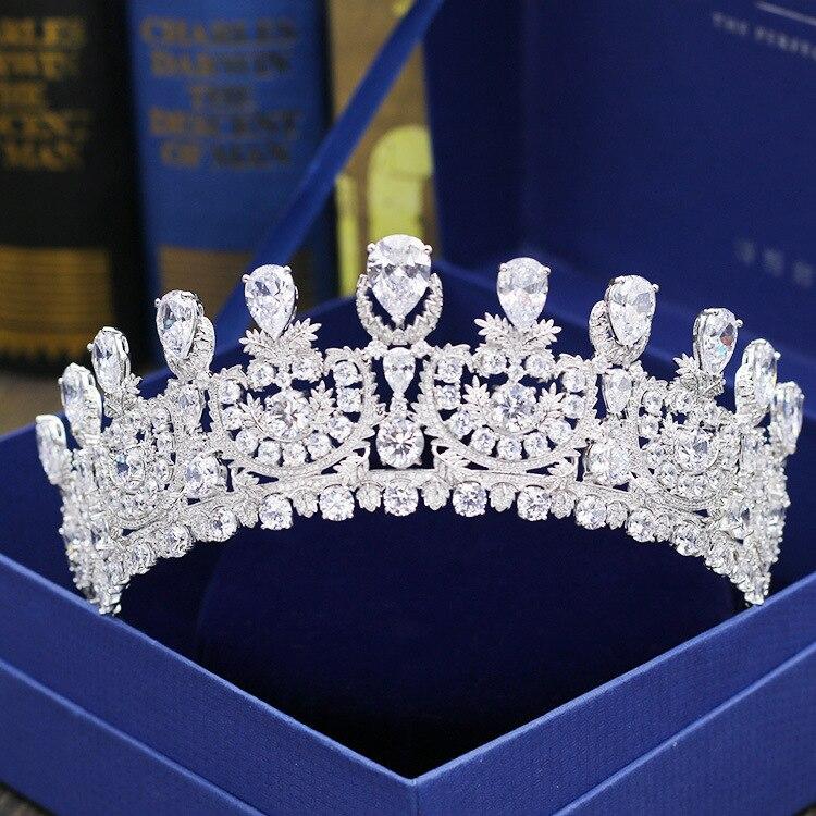 Micro Paved Zircon Crown Full Cubic Zirconia Tiara CZ Tiaras Princess Diadema Wedding Hair Accessories Coroa Noiva WIGO1145