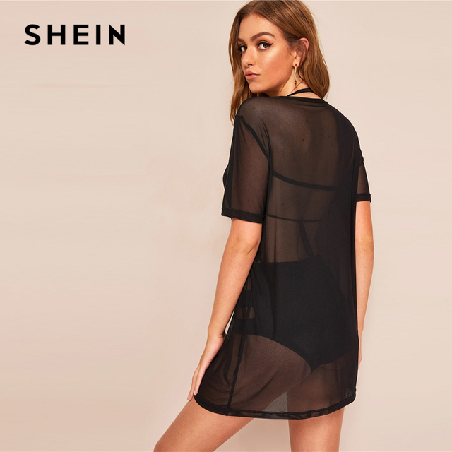 SHEIN Sexy Black Sheer Mesh Cover Up Without Lingerie Set Summer T Shirt Top Women Short Sleeve Solid Boho Casual Long Tshirts 1