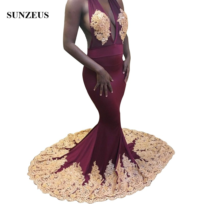 Burgundy   Prom     Dresses   With Gold Appliques Lace Mermaid Halter Neck Sexy Open Back Party Gowns For African Women vestido de noche