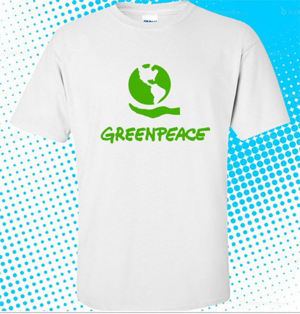 Greenpeace Green Peace Symbol Mens White T Shirt Size S To 3xl In T