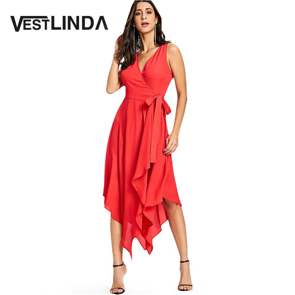 d346e62fb Comprar Vestido con dobladillo sin mangas para mujer vestido Casual de  verano con cuello en V de Color sólido Vestidos de línea a Vestidos de moda  para ...