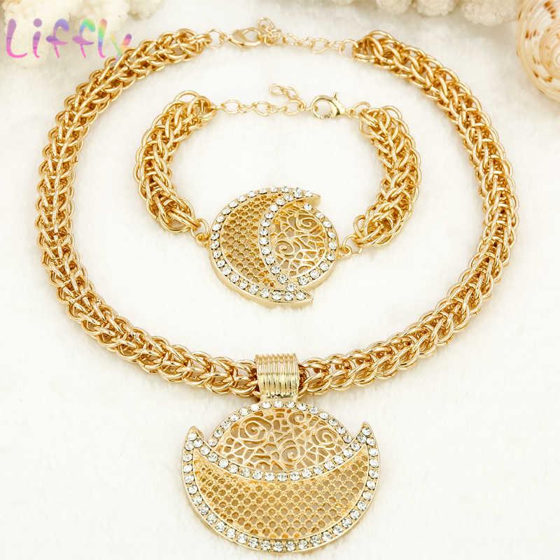 Afrikanisches Gold Schmuck-Sets für Frauen Kristall Hochzeit Schmuck Sets Halskette Ohrringe Ring Armband Hohl Dubai Mode Schmuck