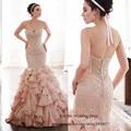 2015 Custom Made Vintage rosa Vestido de Casamento frisado Ruffles sereia vestidos de noiva Low Back Vestido de Casamento mulheres