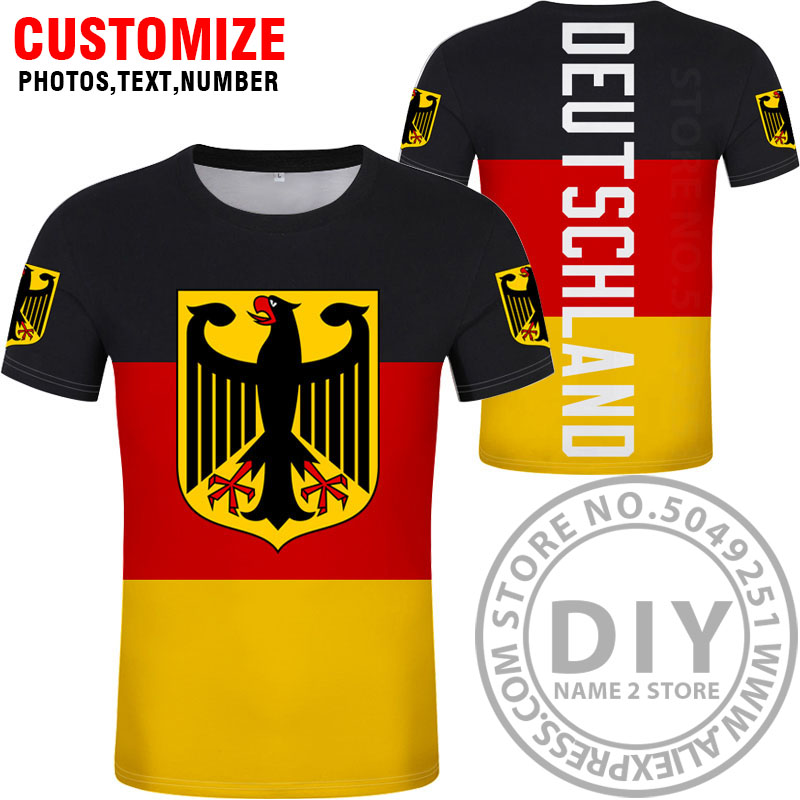 Image 5 - GERMANY t shirt free custom diy name number deu t shirt nation flag de country german bundesrepublik college print photo clothes-in T-Shirts from Men's Clothing