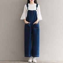 Mori Girl/осенний свободный джинсовый комбинезон в винтажном стиле, на подтяжках, длина по щиколотку, широкие штаны, женские джинсовые комбинезоны размера плюс 5XL A72804
