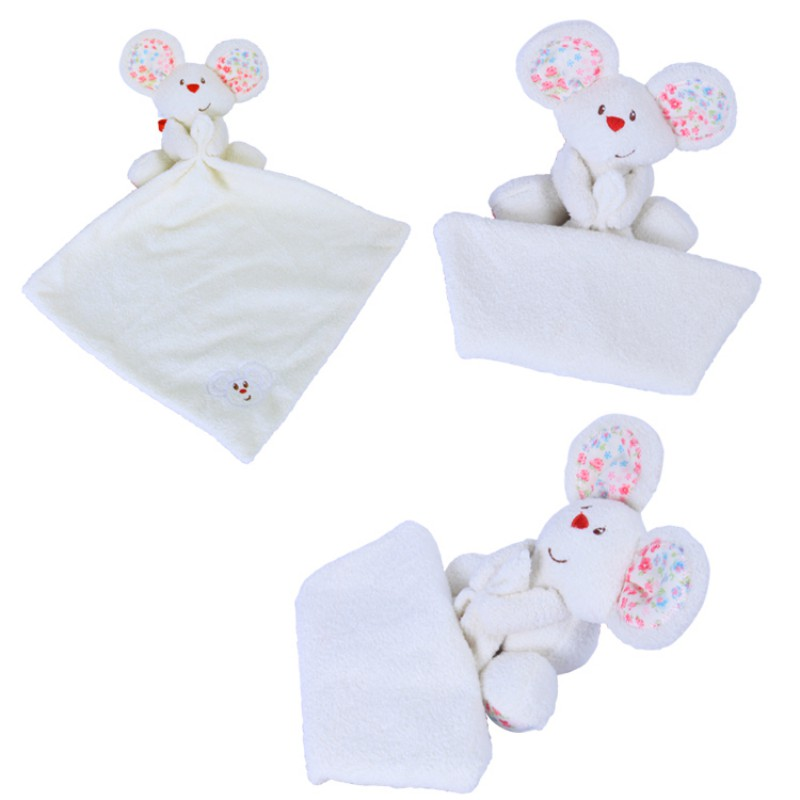 Lovely Baby Plush lint Saliva Towel Can Be Taken Orally Baby Pacifier Mouse Comfort Handkerchief Soothing Towels