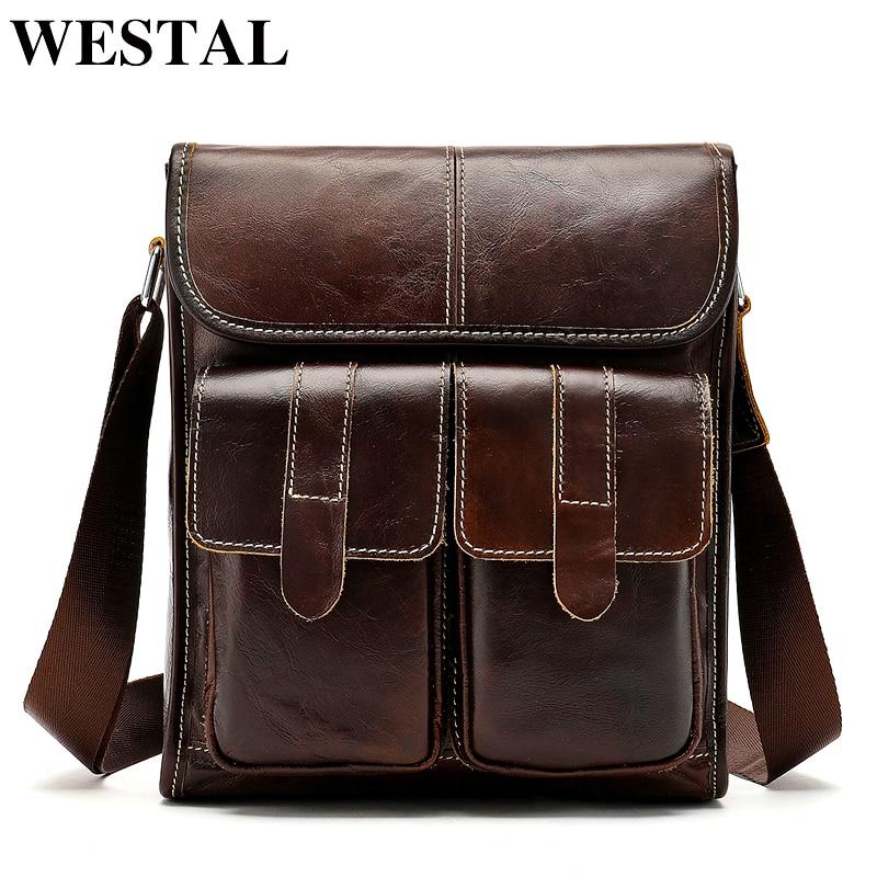 WESTAL Genuine Leather Bag For Men's Shoulder Bag Vintage Messenger Crossbody Bag For Men Flap Zipper Handbags A4 Bussiness 366