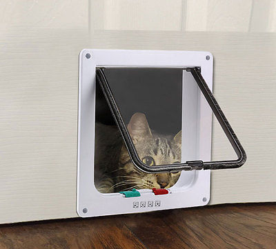 4 Way Lockable Pet Flap Door For Large Medium Small Size Dog Cat White/coffee #2