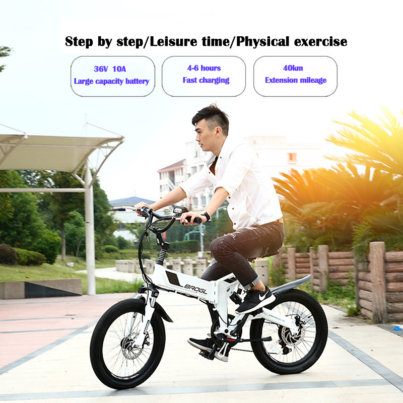 Electric mountain bike 20 inch lithium battery folding double disc brake adult off-road shock absorber aluminum alloy bike