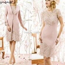 4f2ef79f91581d YNQNFS MD258 Satijn 2 stuk Vintage Elegant 2018 Moeder van de Bruid  Bruidegom Lace Jurken Outfits met Jas  bolero Custom Size