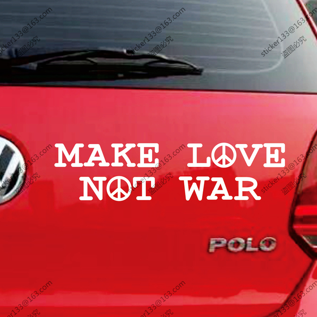 Make love not war peace sign anti war decal bumper sticker windows vinyl die cut