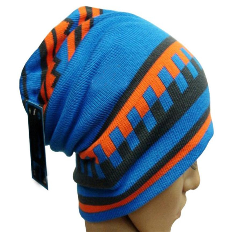Korea Winter Women Hats Acrylic Wool Boy Girl Hip-hop Pile Skating Riding Knit Crochet Slouch Beanie Striped