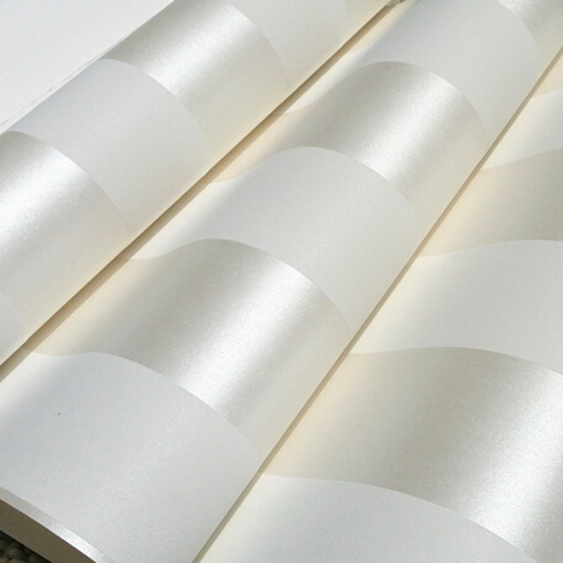 Online kaufen gro handel creme streifen tapete aus china for Cheap plain white wallpaper