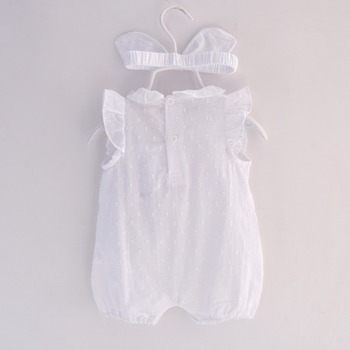 2018 Summer Baby Girl Rompers Lace cotton Jumpsuit Floral Baby Clothing Princess Toddler Romper Newborn Baby Clothes Headband 1