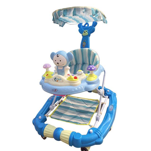 Seguridad Anti-vuelco de la alta Calidad Andador Infantil Juego Asiento Toddler Multifunción Música Caballito de madera Con Dosel