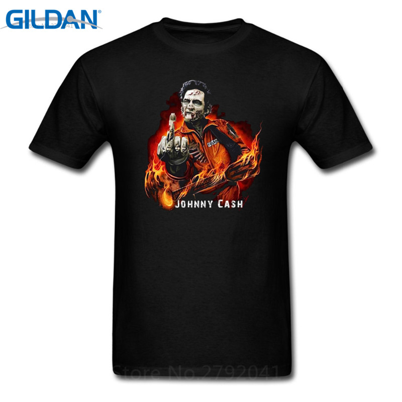 Hipster Tee Tops Johnny Cash Finger O Neck Men Short Cotton Shirts in T Shirts from Men 39 s Clothing