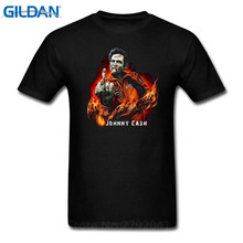 Hipster Tee Tops Johnny Cash Finger  O-Neck Men Short Cotton Shirts