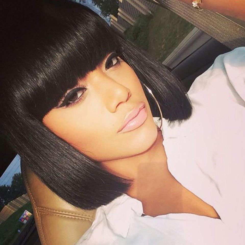AOSIWIG Short Black Omber Blue Wigs with Bangs for Black Women Synthetic Straight Blue Bob Hair African American Wigs for Women
