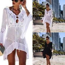 Women's summer Beach Cover Up Lace Crochet Hollow Out Irregular Long Sleeves Beach blouse tunics Cover-ups for bikini Swimsuit
