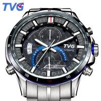 ТВГ роскошные часы для мужчин кварцевые Полный нержавеющая сталь часы Военная Униформа Авто Дата Неделя секундомер Бизнес наручные часы