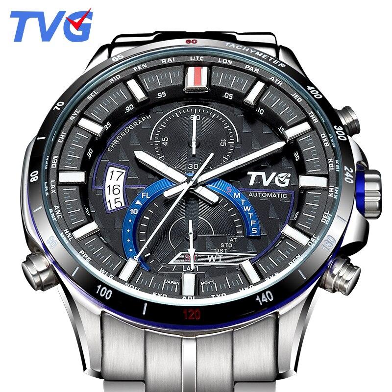 TVG Montre de luxe hommes Quartz en acier inoxydable montres militaires Auto Date semaine chronomètre Montre-bracelet d'affaires Montre Homme