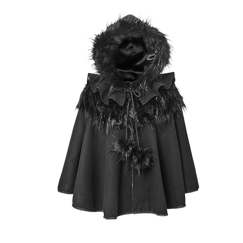Steampunk Gothic Lolita Style  Black Casual Shawls Sweet Cape Punk Hooded Fur Cloak Coats Autumn Winter Fashion Women Poncho
