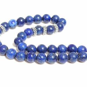 Image 3 - 8mm Lazuli Beads with hand charm Round Shape 33 Prayer Beads Islamic Muslim Tasbih Allah Mohammed Rosary For Men&Women