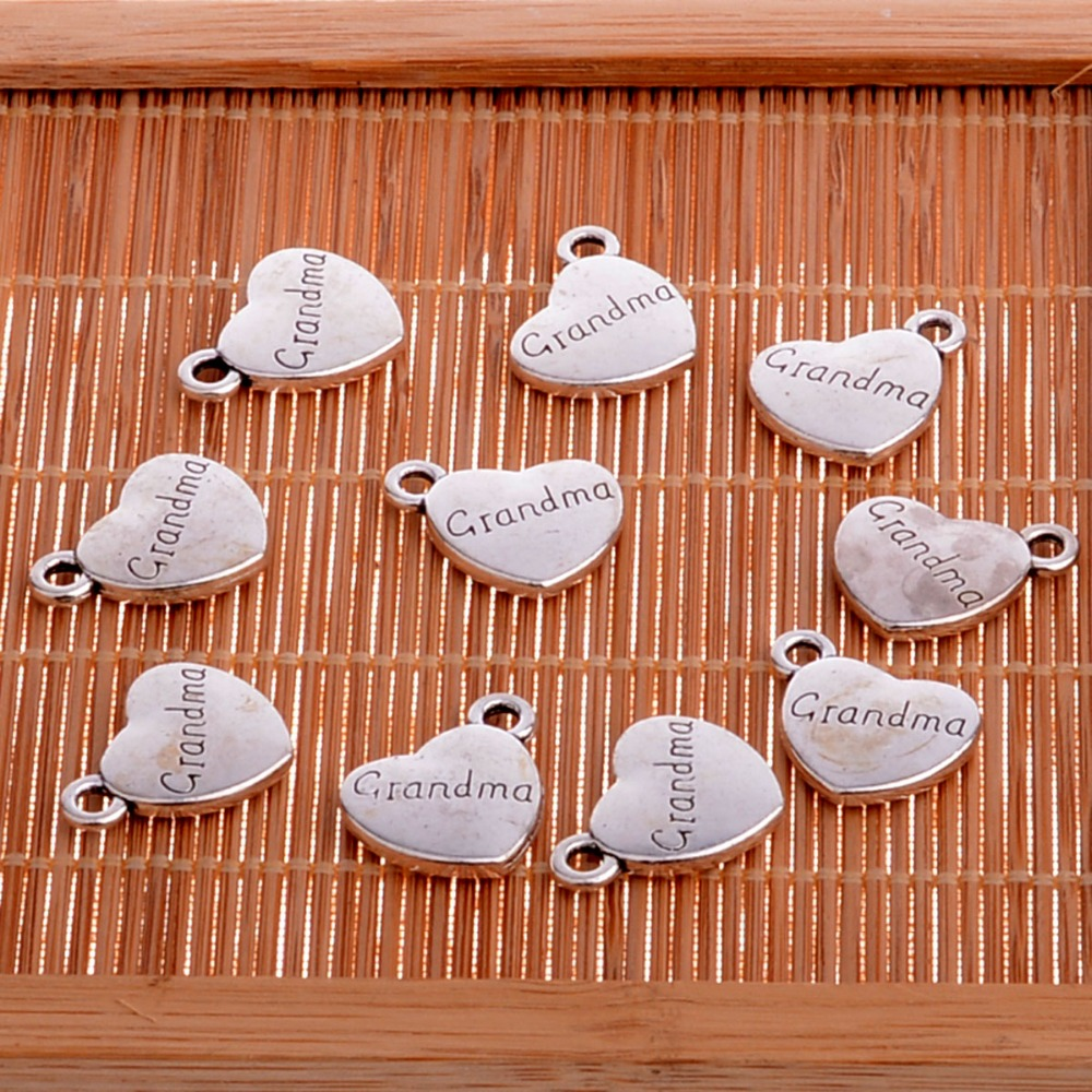 10 шт. золотые подвески в виде сердца с бабушкой Наной и браслет ожерелье для