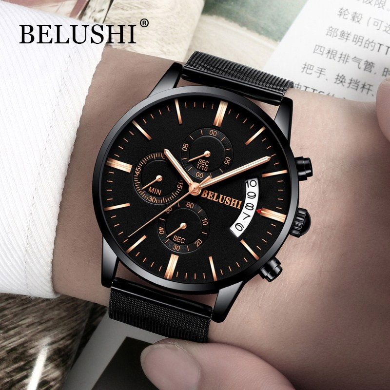 BELUSHI New Chronograph Mænd Quartz Watch Rustfrit Stål Mesh Band - Mænds ure - Foto 1