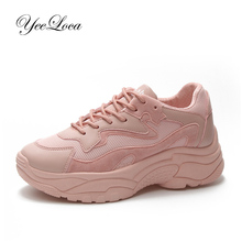 Women's Chunky Sneakers 2018 Fashion Basket Women Platform Shoes Lace Up Pink Female Trainers Dad Shoes Bambas Plataforma Mujer