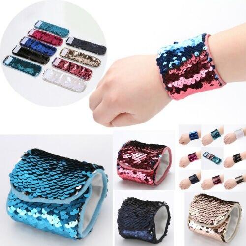 USSTOCK Girls Color Change Magic Sequin Mermaid Bracelet Sequin Wristband Bangle