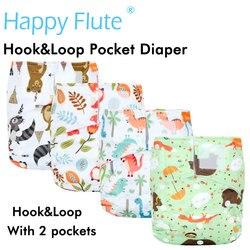 (10 stks/partij) Gelukkig Fluit Klittenband OS Pocket Doek Luier, met twee zakken, waterdicht en ademend, voor 5-15 kg baby