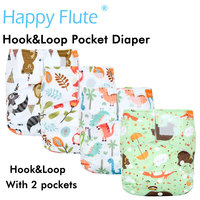 (10pcs/lot)Happy Flute Hook&Loop OS Pocket Cloth Diaper,with two pockets,waterproof and breathable,for 5 15 kg baby