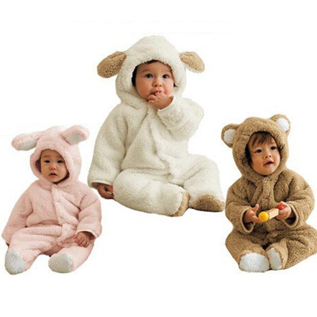 Roupas de Lã de Coelho do Inverno Da Menina do Menino Romper Do Bebê recém-nascido Infantil Bebês Roupas Meninas Urso Para Baixo Snowsuit Rosa Macacão Azul