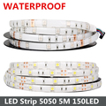 Waterproof RGB LED Strip 5M 150Led SMD 5050 LED Cool White Warm White Lights 30LED/M IP65 LED Tape