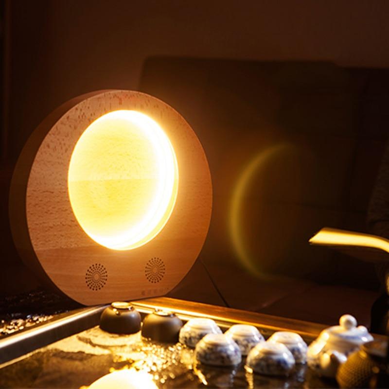 Деревянный лунный свет светодиодный луна ночь свет Bluetooth Динамик музыкальный плеер для Midautumn ALI88 ...