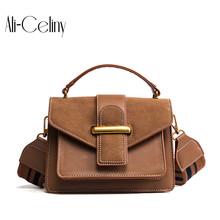 Korean version of the new 2017 fashion handbags Hit the color wide shoulder strap matte small square shoulder bag diagonal