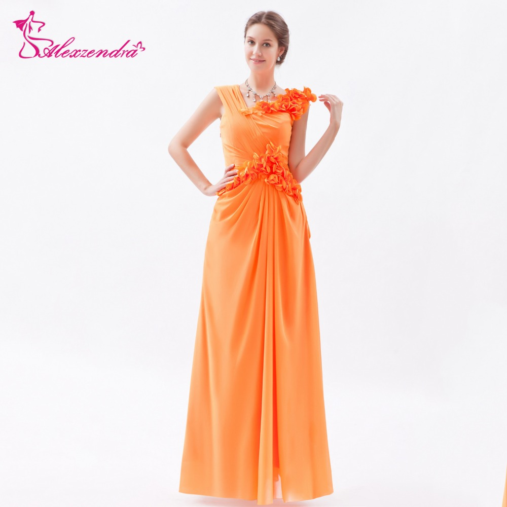 Alexzendra Orange Double V Neck Chiffon Flowers High Waist Long Pregnant   Prom     Dresses   Party   Dress   Special Party Gowns